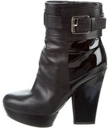 Christian Dior Patent Leather-Accented Platform Ankle Boots