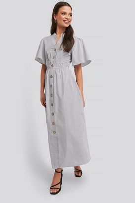 NA-KD Cinched Waist Maxi Shirt Dress