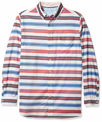 Tommy Hilfiger Big & Tall Men's Big and Tall Button Down Long Sleeve Shirt in Custom Fit