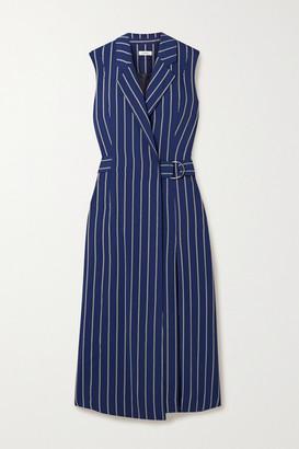 Jason Wu Pinstriped Woven Wrap Midi Dress - Navy