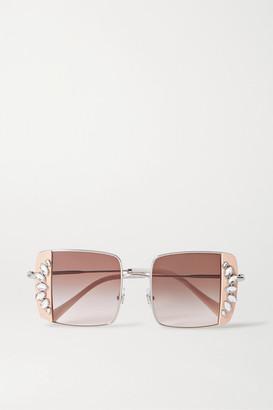 Miu Miu Oversized Crystal-embellished Square-frame Acetate And Silver-tone Sunglasses - Pink