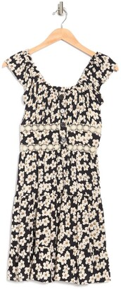 Angie Tiered Floral Print Lace Trim Dress