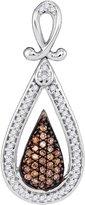 JawaFashion 10kt White Gold Womens Round Cognac- Colored Diamond Teardrop Cluster Pendant 1/4 Cttw