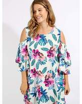 Koko Tropical Print Cold Shoulder Blouse