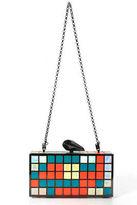 Kotur Multicolored Metal Metallic Colorful Cube Print Clutch Handbag