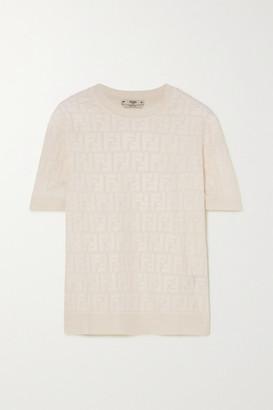 Fendi Intarsia Cotton-blend Sweater - White