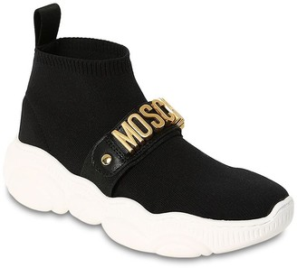 Moschino Logoed Leather Strap Knit Sock Sneakers