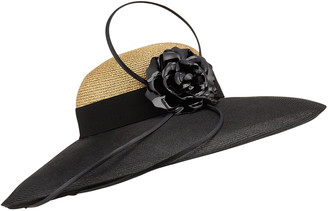 Marzi Braid Metallic Large Brim Hat w/ Leather Flower