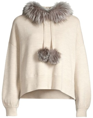 Alice + Olivia Oscar Silver Fox Fur-Trim Hooded Sweater