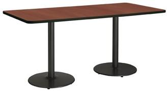 "KFI Studios Mode Pedestal Table Top Finish: River Cherry , Base Finish: Black, Size: 36"" H x 96"" L x 36"" W"