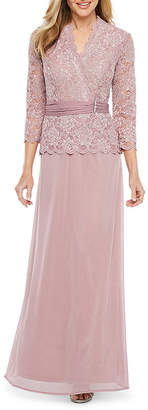 Onyx 3/4 Sleeve Embellished Lace Evening Gown
