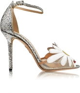 Charlotte Olympia Margherite Platinum, White and Sunshine Yellow Glitter and Leather Sandal