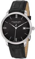 Stuhrling Original Sthrling Original Mens Black Leather Strap Watch