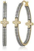 Freida Rothman Two Tone Pave Row Clover Hoop Earrings