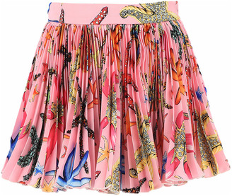 Versace Girl's Tresor De La Mer Pleated Skirt, Size 4-6