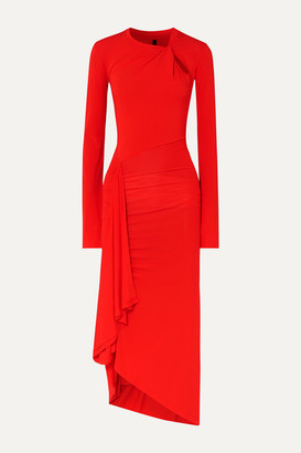 Unravel Project Twisted Draped Stretch-jersey Midi Dress - Red