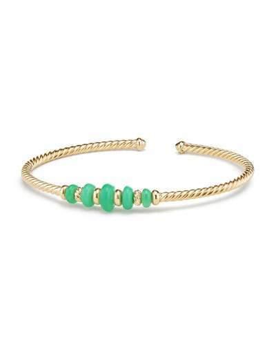 David Yurman 18k Gold Rio Rondelle Cabled Cuff Bracelet w/ Chrysoprase, Size M