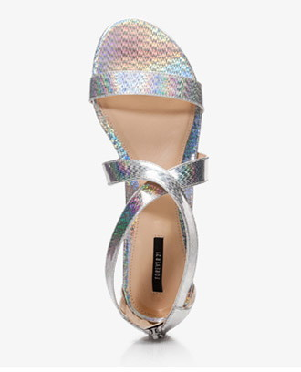 Forever 21 Holographic Mini-Wedge Sandals