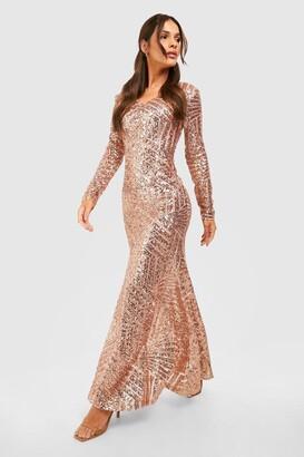 boohoo Boutique Sequin & Mesh Maxi Dress