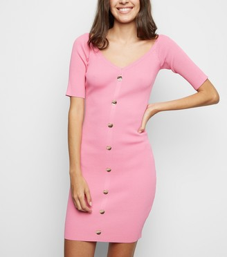 New Look Button Front Bodycon Dress