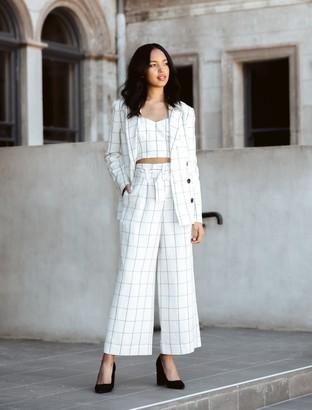 Forever New Hartz Linen-Blend Belted Pants - Windowpane Check - 4