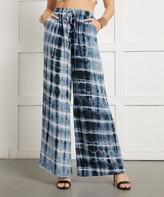 Suzanne Betro Women's Dress Pants 101NAVY - Navy Tie-Dye Stripe Palazzo Pants - Women & Plus