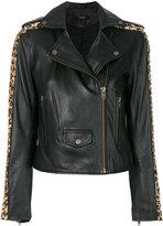 Muu Baa Muubaa leopard print studded biker jacket