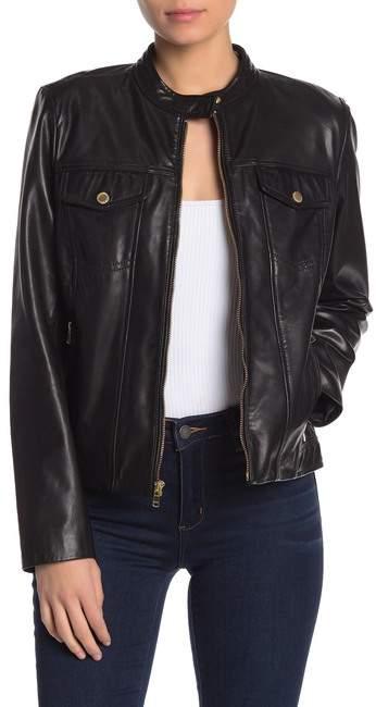 Cole Haan Lamb Leather Zip Pocket Jacket