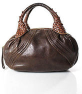 Fendi Brown Leather Woven Straps Small Spy Bag Handbag
