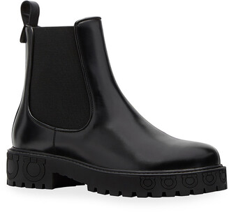 Salvatore Ferragamo Varsi Leather Chelsea Booties