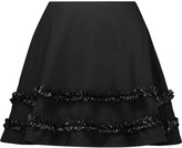 McQ by Alexander McQueen Ruffled faux leather-trimmed cotton-twill mini skirt