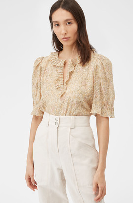 Rebecca Taylor Soleil Floral Ruffle Top