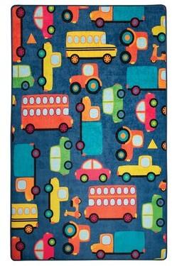 "Zoomie Kids Lucero Cars Blue/Orange/Yellow Area Rug Rug Size: Rectangle 3'3"" x 5'3"""
