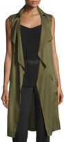 Laundry by Shelli Segal Drape-Front Cargo Trench Vest, Olive