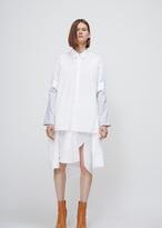 Maison Margiela white combo sleeve cotton button down