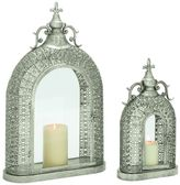 Elegant Metal & Glass Lantern 2-piece Set