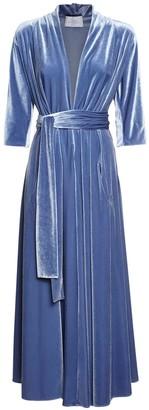 Luisa Beccaria V Neck Velvet Belted Midi Dress