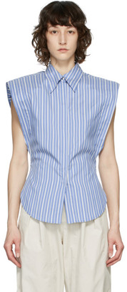 Isabel Marant Blue Silk Enza Sleeveless Shirt