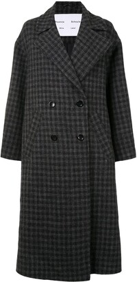 Proenza Schouler White Label Plaid Coating Long Double-Breasted Coat