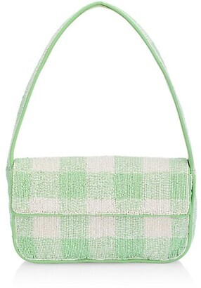 STAUD Tommy Gingham Beaded Baguette