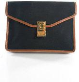 Celine Black Brown Leather Trim Envelope Clutch Handbag