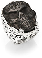 King Baby Studio Carved Jet Chosen Skull Ring