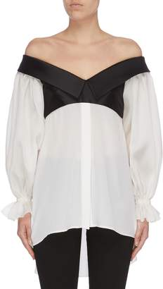 Leal Daccarett 'Carla' satin collar panel balloon sleeve off-shoulder top