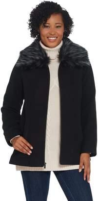 Susan Graver Faux Wool Coat with Detachable Faux Fur Collar