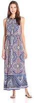 London Times Women's Paisley Blouson Maxi Dress