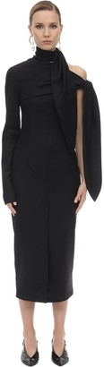 MATÉRIEL Wool Crepe Midi Dress W/ Cut Out