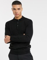 French Connection long sleeve polo-Black