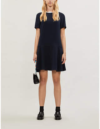 Claudie Pierlot Contrast scalloped-trim cotton-blend dress