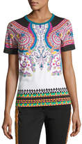 Etro Paisley Cotton T-Shirt, White/Turquoise/Pink
