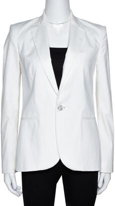 Ralph Lauren Off White Stretch Cotton Tailored Blazer M